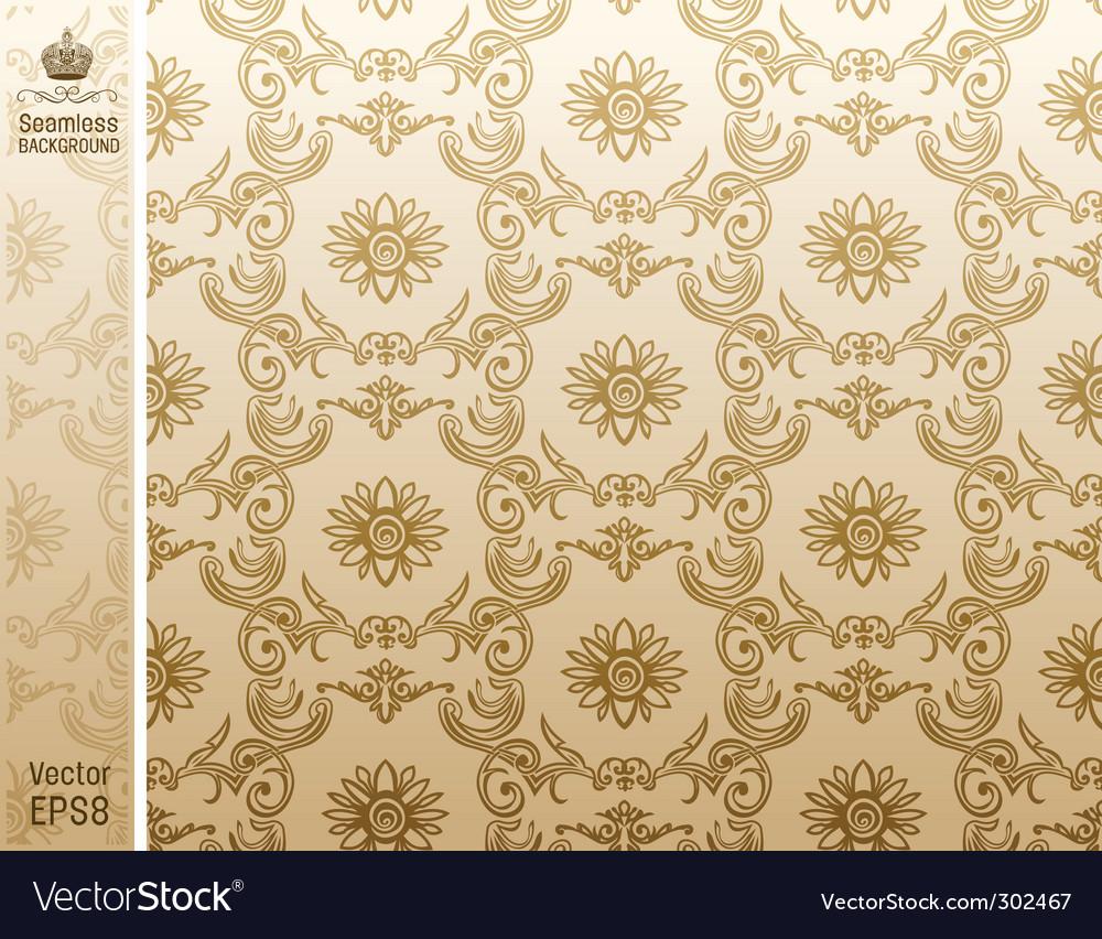 Seamless flower wallpaper pattern beige vector | Price: 1 Credit (USD $1)