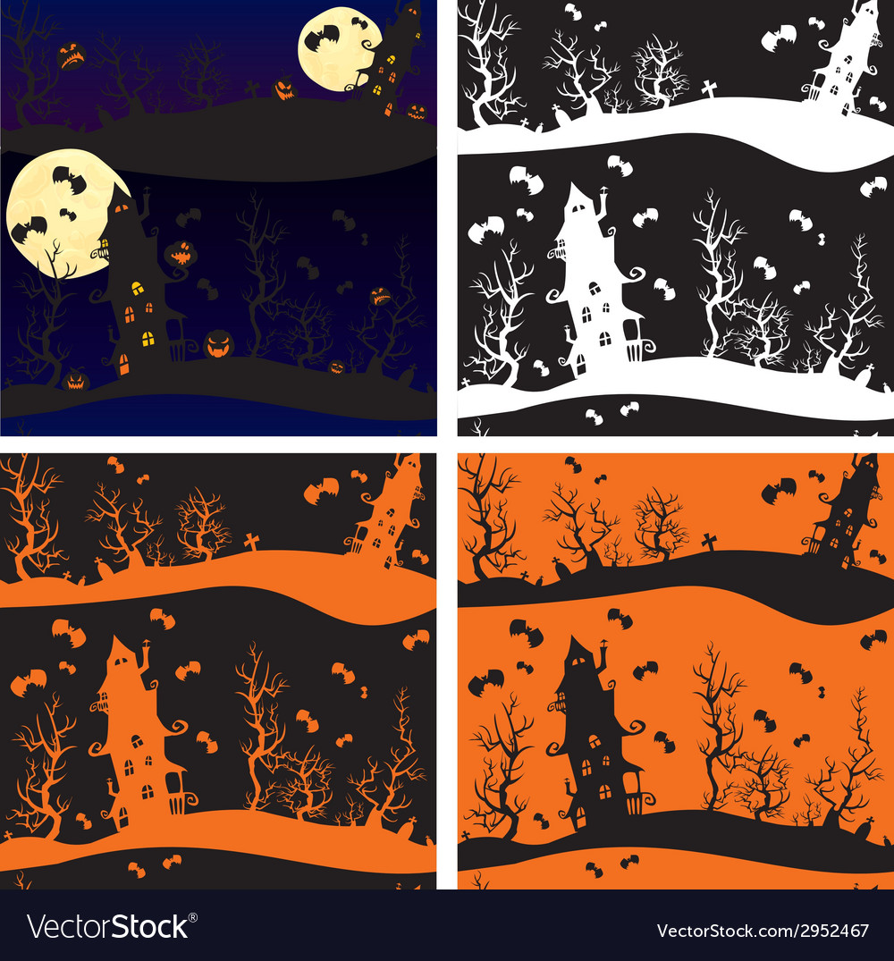 Set of seamless patterns - halloween night mystery vector   Price: 1 Credit (USD $1)