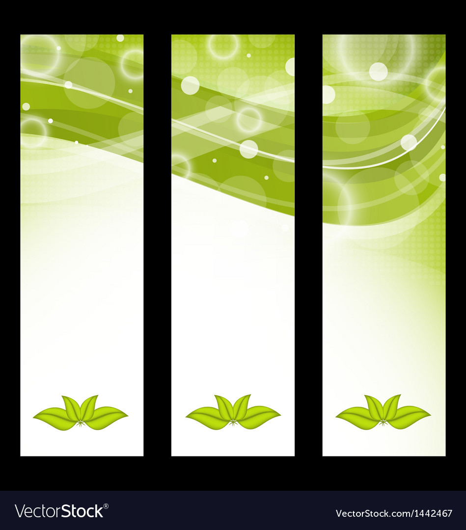 Set wavy nature banners with green leaves vector | Price: 1 Credit (USD $1)