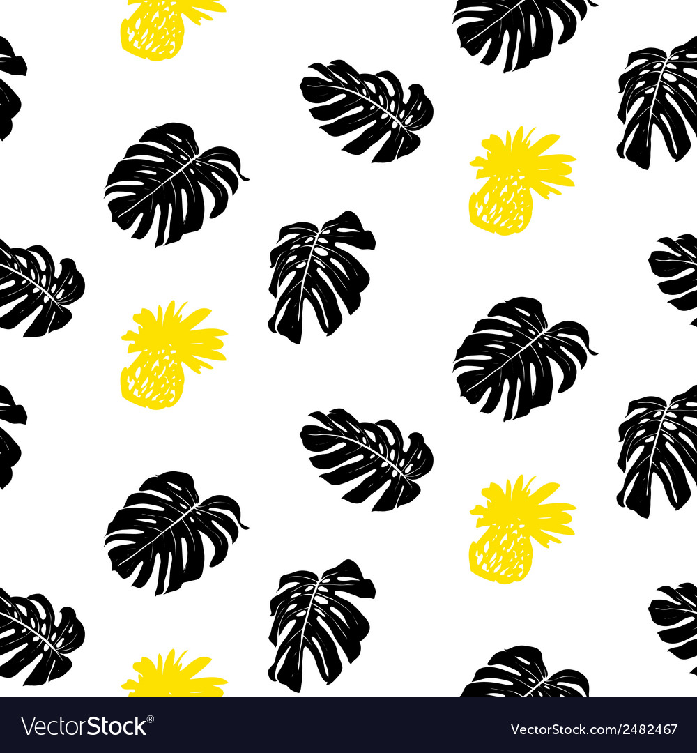 Tropical grunge pattern with fruits and leafs vector | Price: 1 Credit (USD $1)