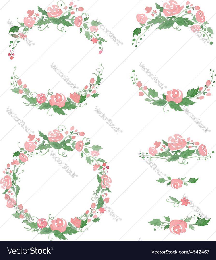Watercolor floral frames wreath dividers vector