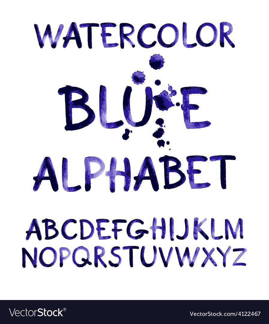 Watercolor hand written purple alphabet vector | Price: 1 Credit (USD $1)