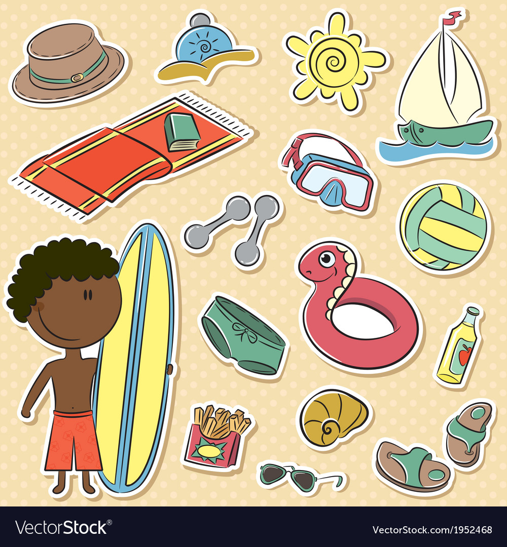 African-american boy with summer vacation objects vector   Price: 1 Credit (USD $1)