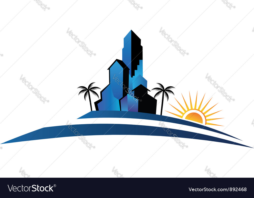 Buildings with palm and sun vector | Price: 1 Credit (USD $1)