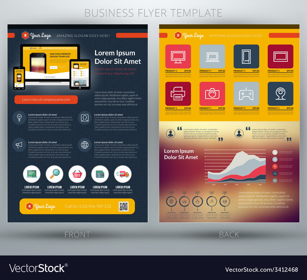 Business flyer template for mobile application or vector | Price: 1 Credit (USD $1)
