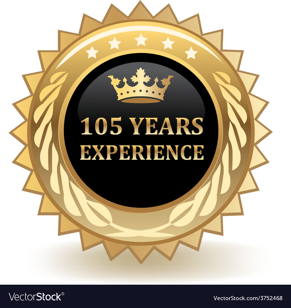 Hundred and five years experience badge vector | Price: 1 Credit (USD $1)