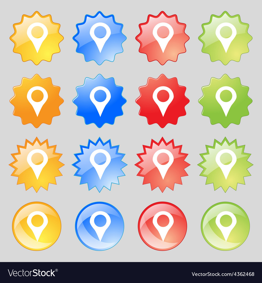 Map pointer gps location icon sign big set of 16 vector | Price: 1 Credit (USD $1)