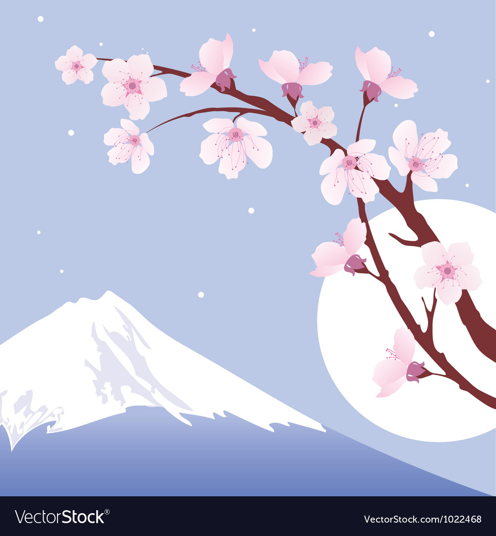 Mount fuji moon and branches of sakura vector | Price: 1 Credit (USD $1)