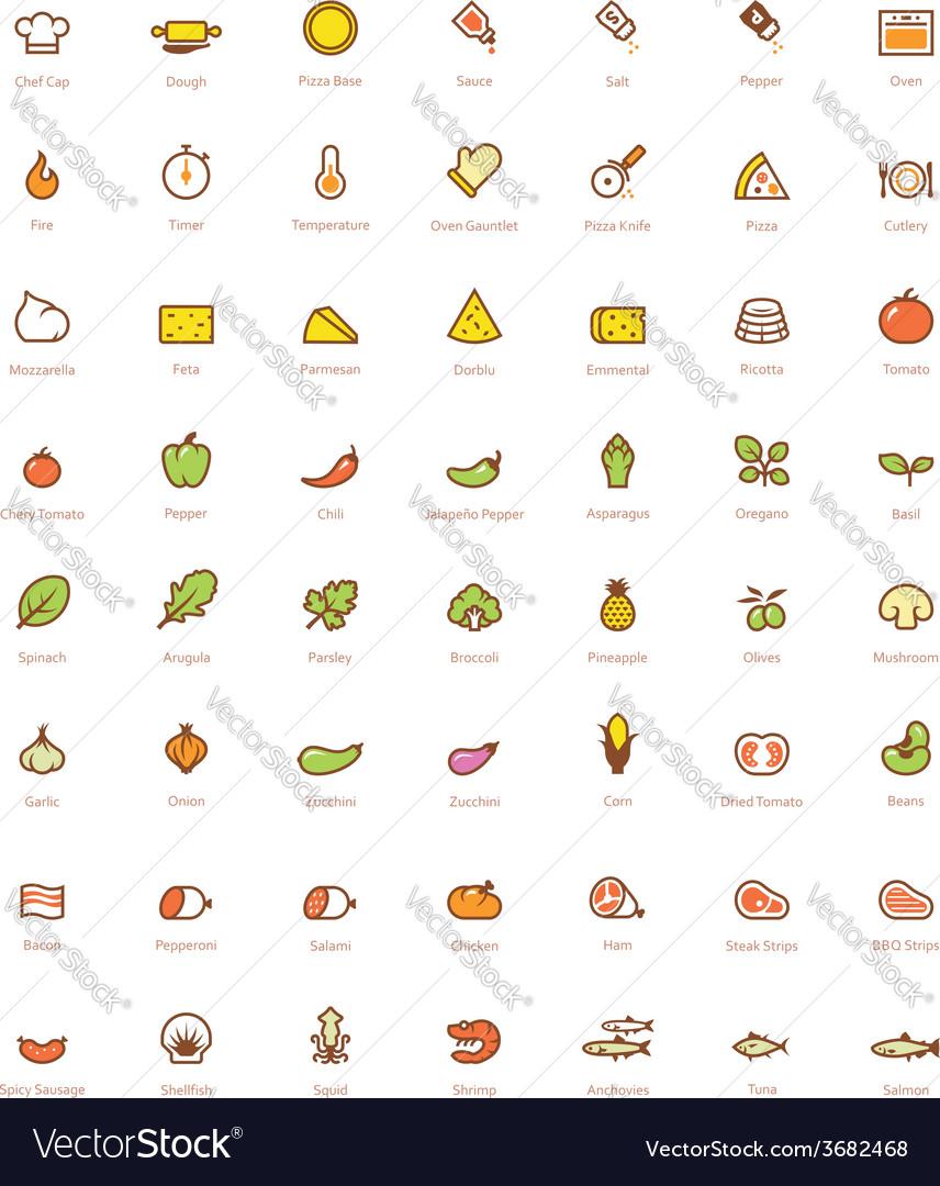 Pizza icon set vector | Price: 1 Credit (USD $1)