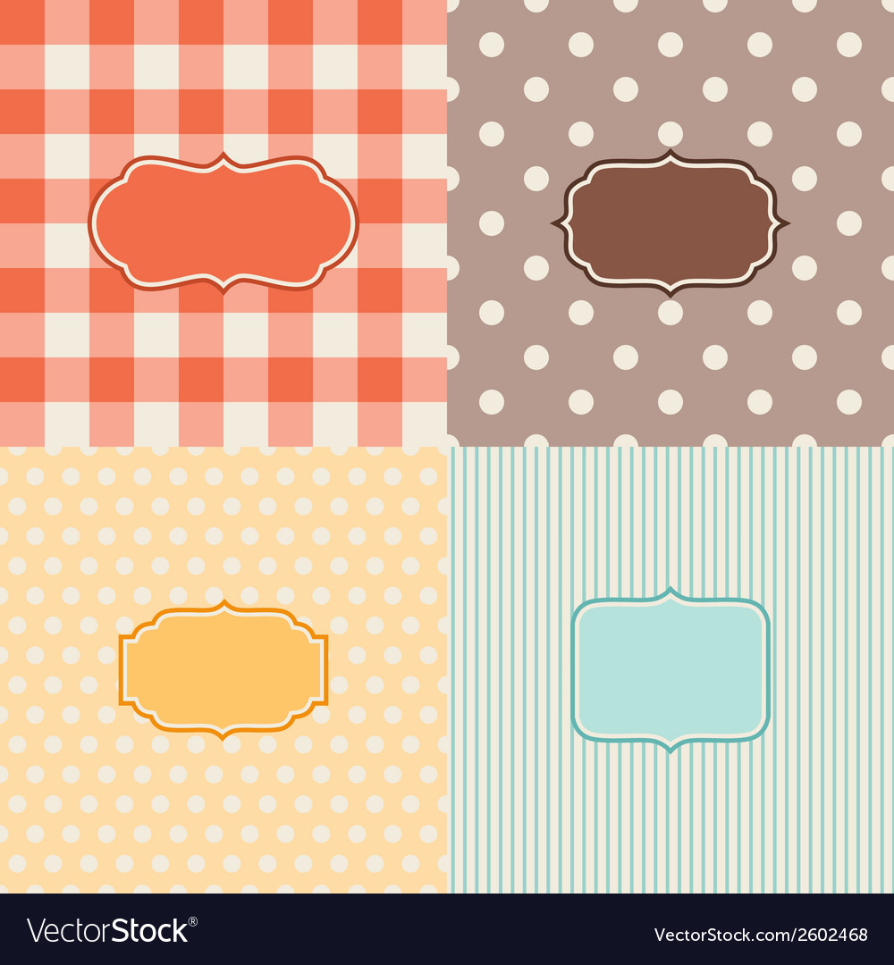 Set of four patterned backgrounds with frames vector | Price: 1 Credit (USD $1)