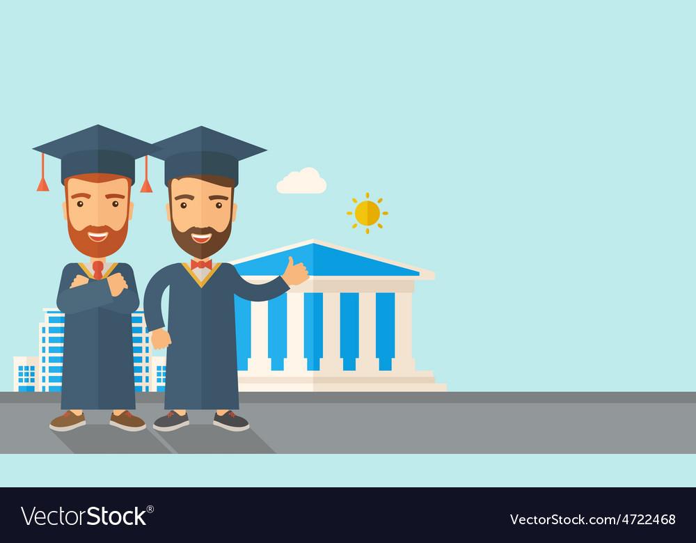 Two men wearing graduation cap vector | Price: 1 Credit (USD $1)