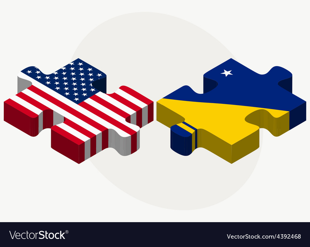 Usa and tokelau flags in puzzle vector | Price: 1 Credit (USD $1)