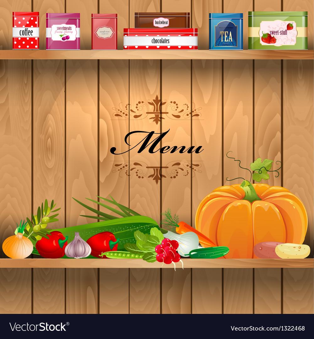 Vegetables wooden shelves vector | Price: 1 Credit (USD $1)