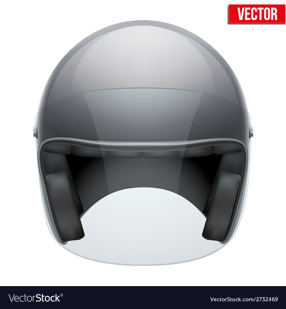 Black motorbike classic helmet with clear glass vector | Price: 1 Credit (USD $1)