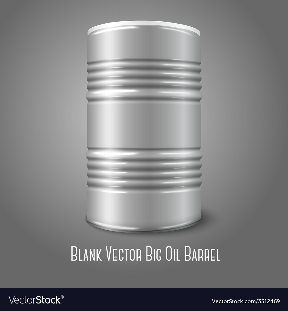 Blank big oil barrel isolated on gray with place vector | Price: 1 Credit (USD $1)