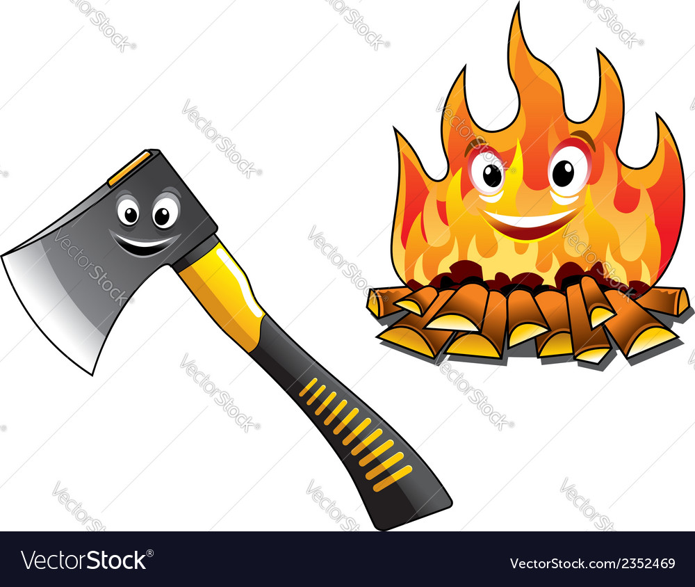 Cartoon axe with a burning fire vector | Price: 1 Credit (USD $1)