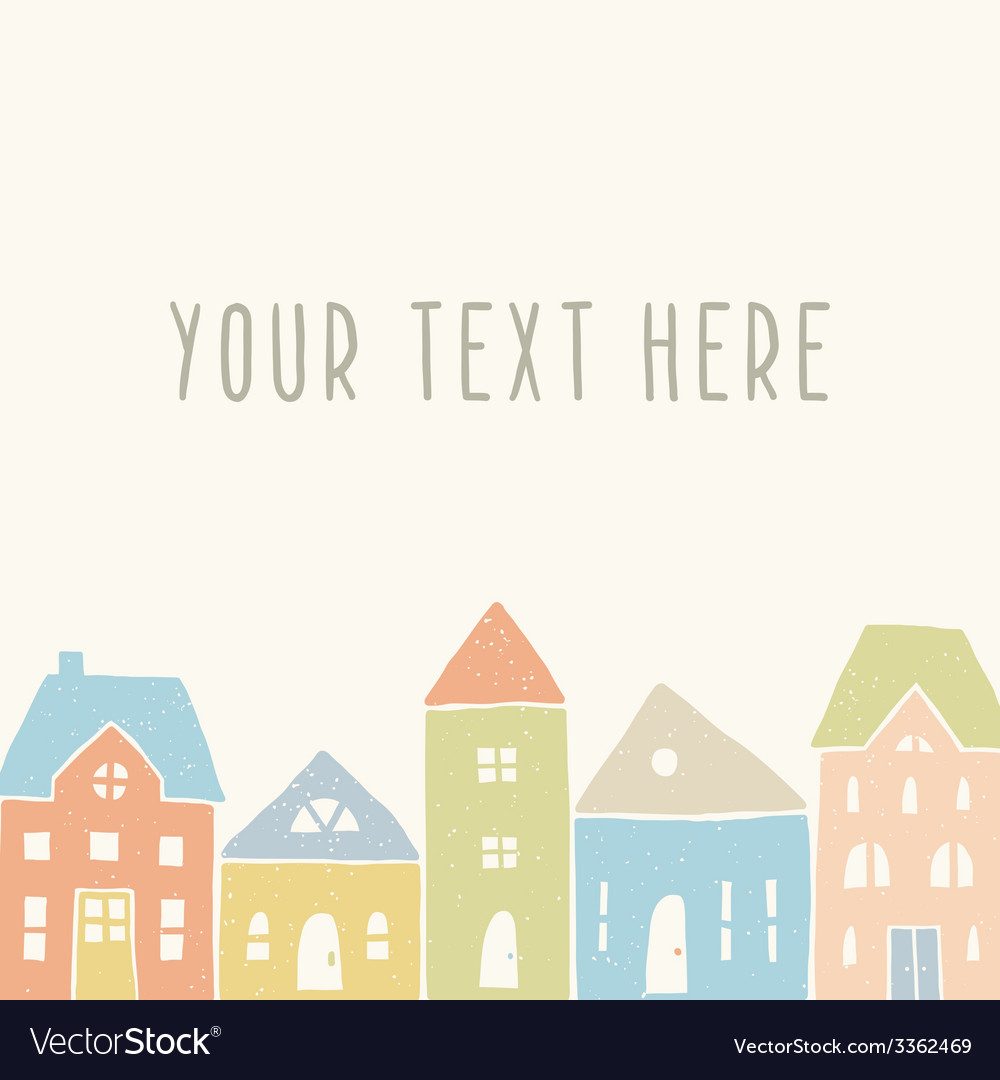Cute houses card template vector | Price: 1 Credit (USD $1)