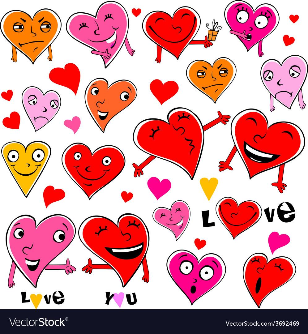 Funny cartoon hearts vector   Price: 1 Credit (USD $1)