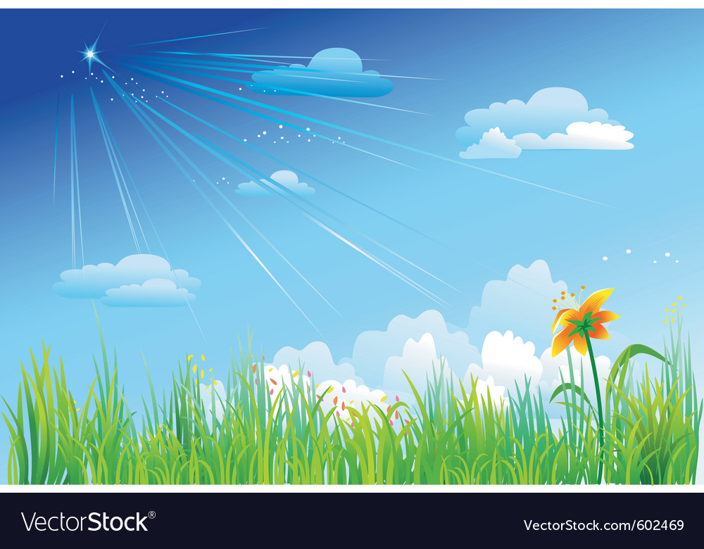 Grass on a background of blue sky vector | Price: 1 Credit (USD $1)