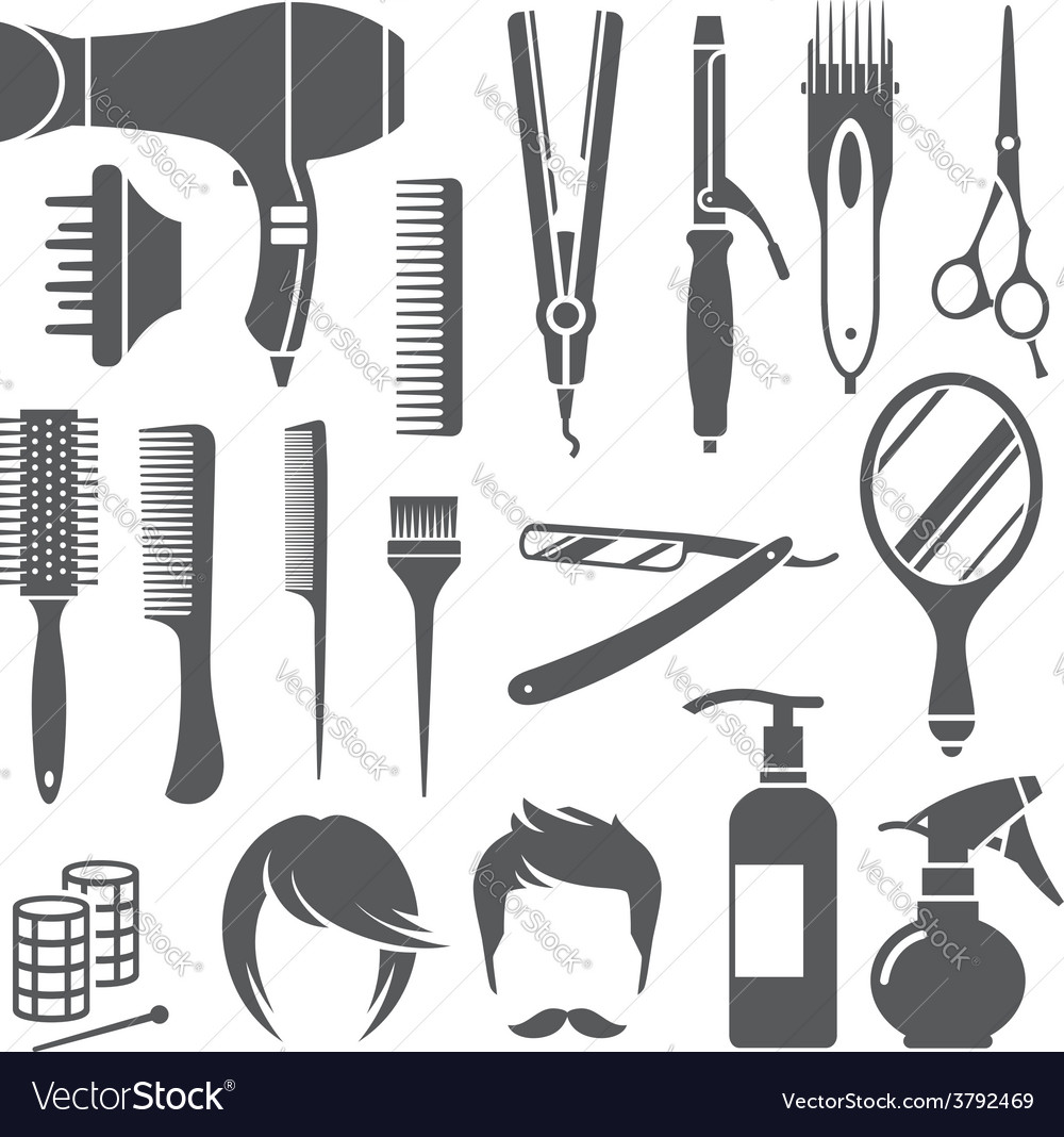 Hairdressing equipment symbols vector | Price: 1 Credit (USD $1)
