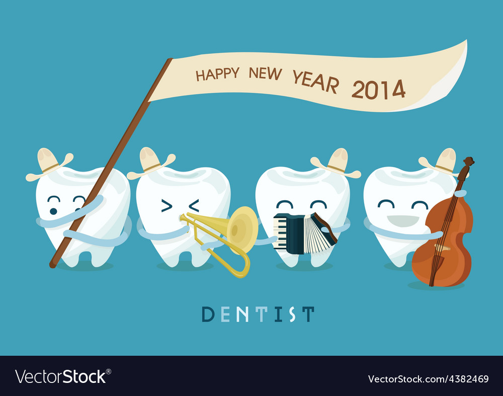 Happy new year dentist vector | Price: 1 Credit (USD $1)