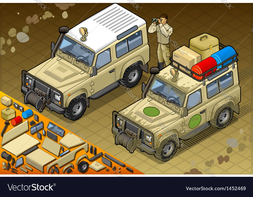 Isometric safari jeep in front view vector | Price: 1 Credit (USD $1)