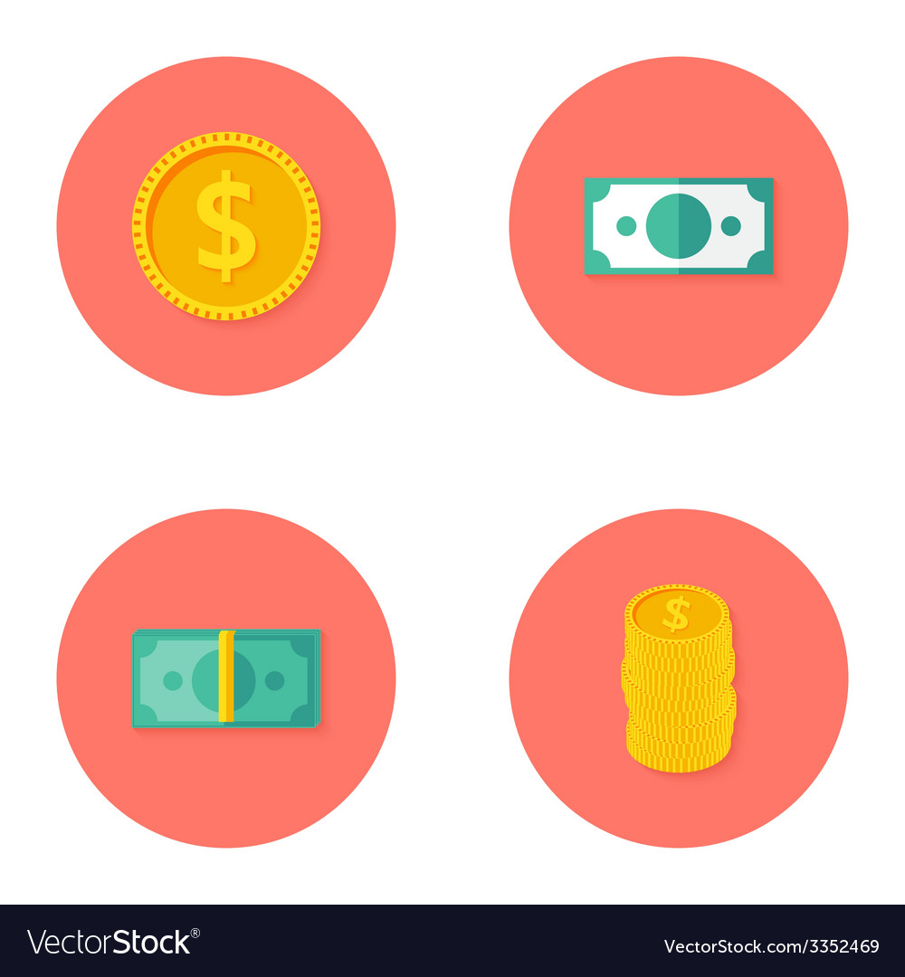 Money circle flat icons set vector | Price: 1 Credit (USD $1)