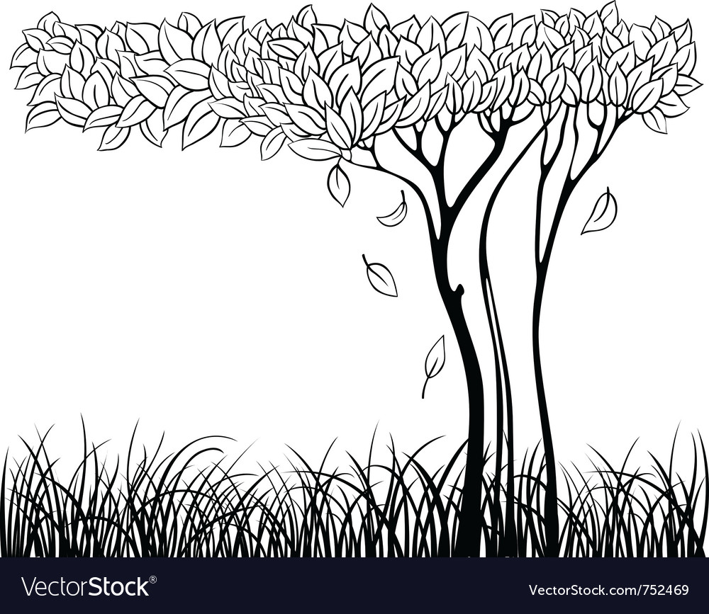 Silhouette of tree vector | Price: 1 Credit (USD $1)