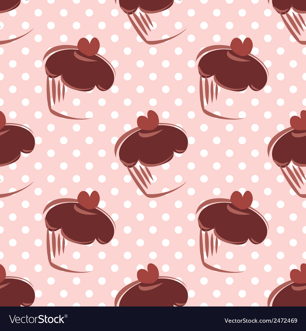 Tile chocolate cupcake and polka dots pattern vector | Price: 1 Credit (USD $1)