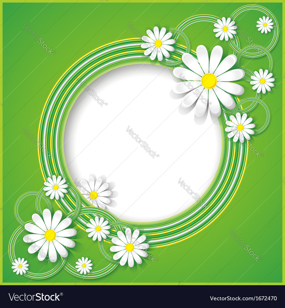 Abstract green background with flower chamomile vector | Price: 1 Credit (USD $1)