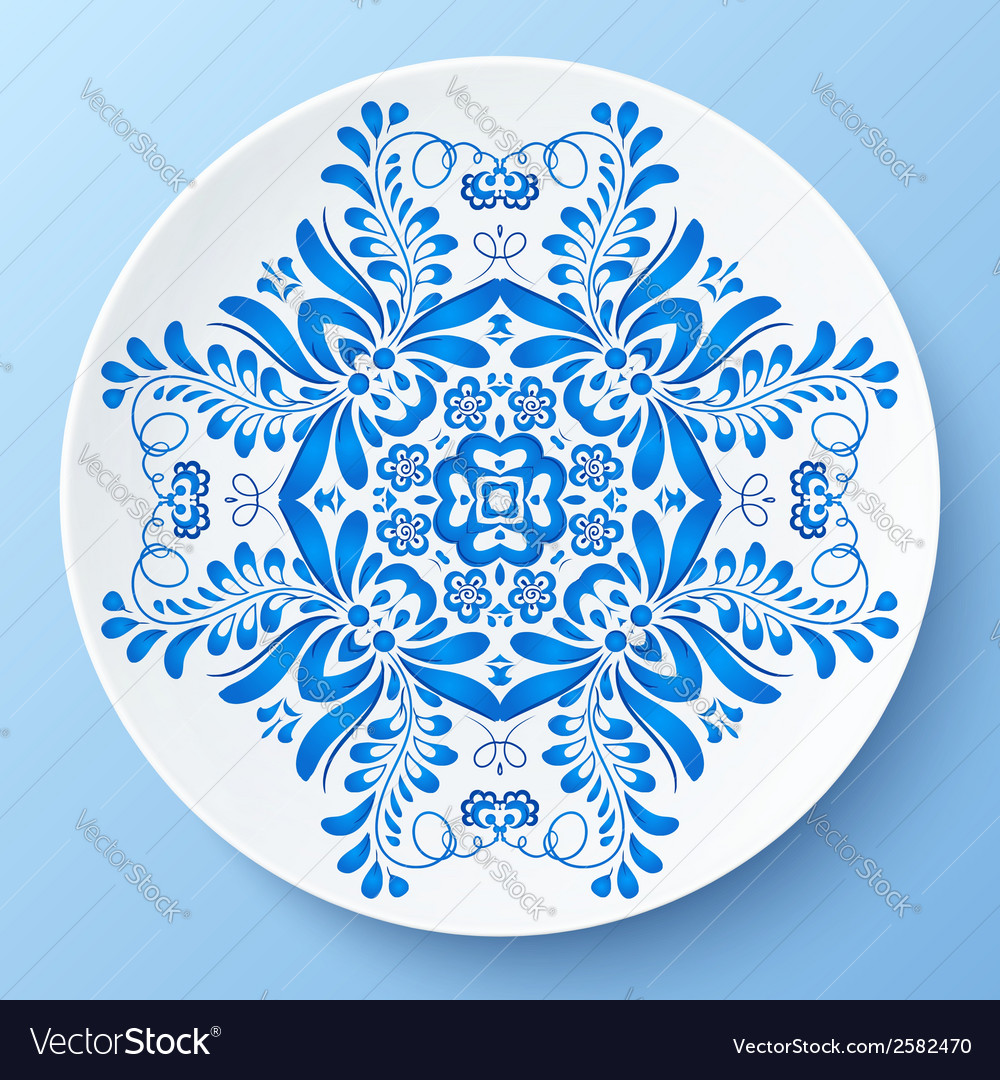 Blue plate with floral ornament vector | Price: 1 Credit (USD $1)