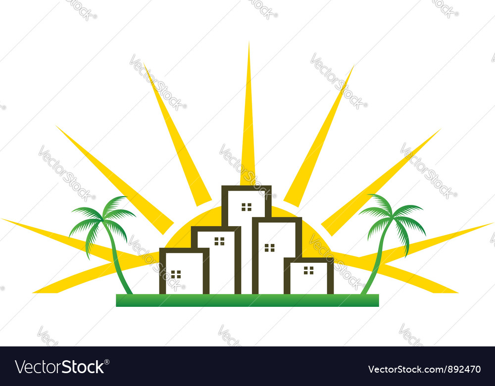 City sunny vector | Price: 1 Credit (USD $1)