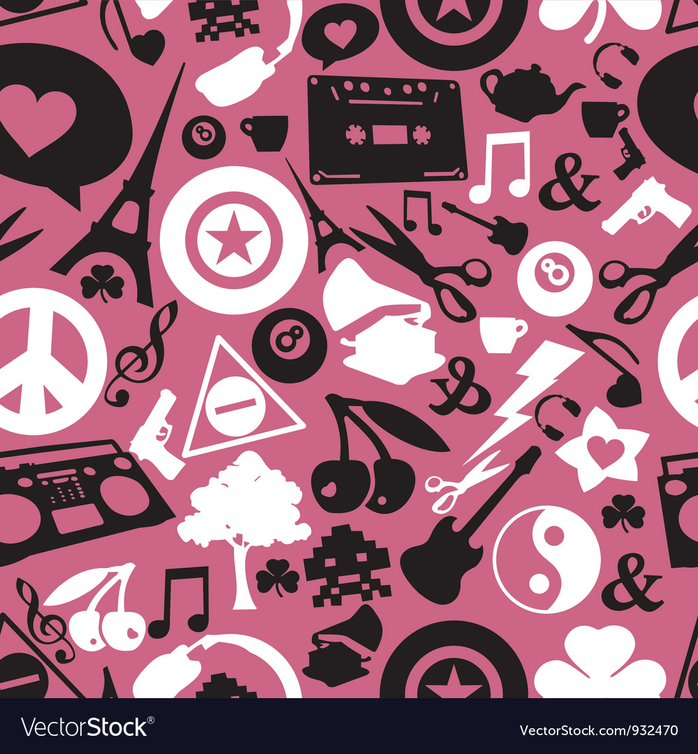 Different objects on pink background vector | Price: 1 Credit (USD $1)