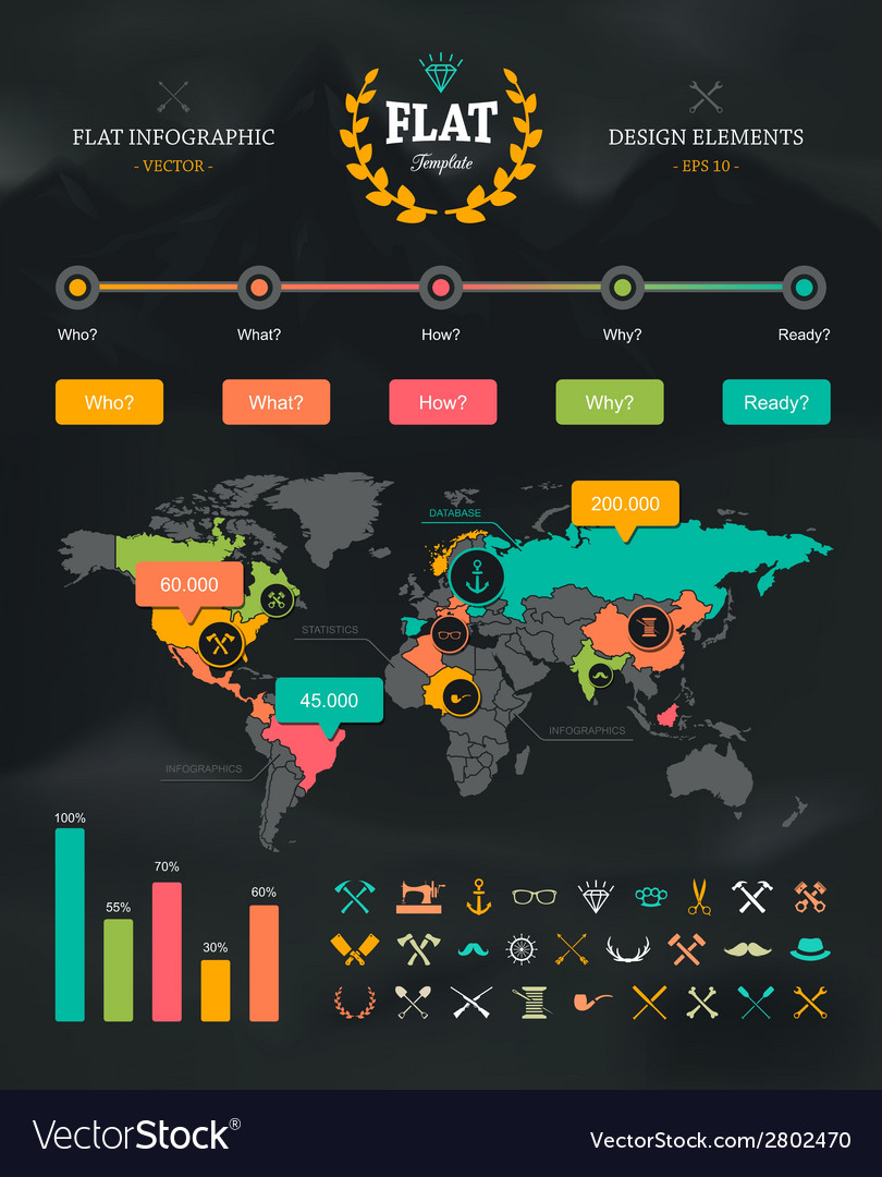 Flat infographic set 1 vector | Price: 1 Credit (USD $1)