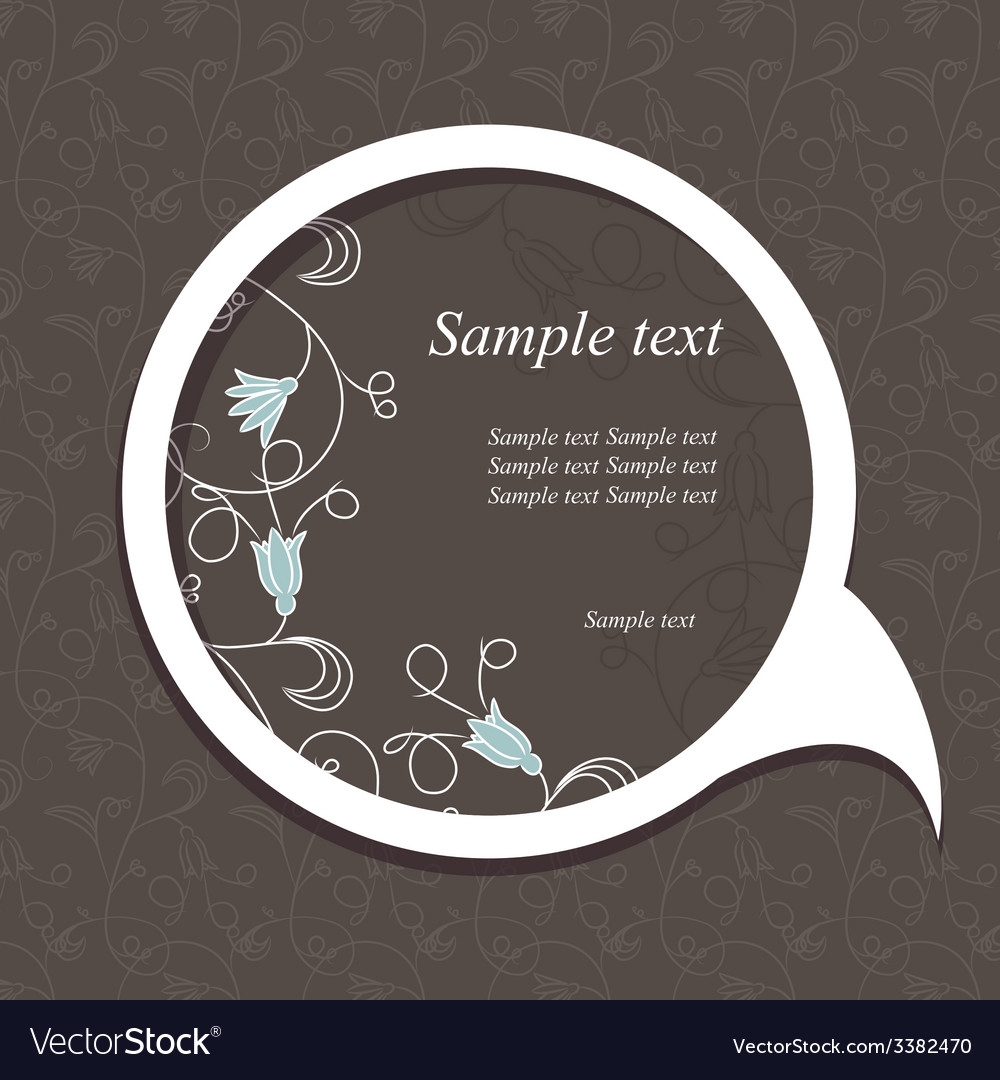 Floral speech bubble dark4 vector | Price: 1 Credit (USD $1)