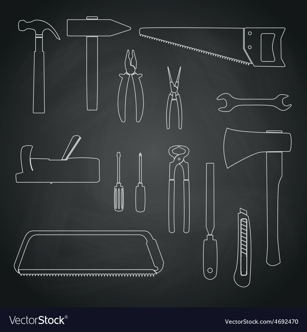 Hand tools outline icons on chalkboard eps10 vector | Price: 1 Credit (USD $1)