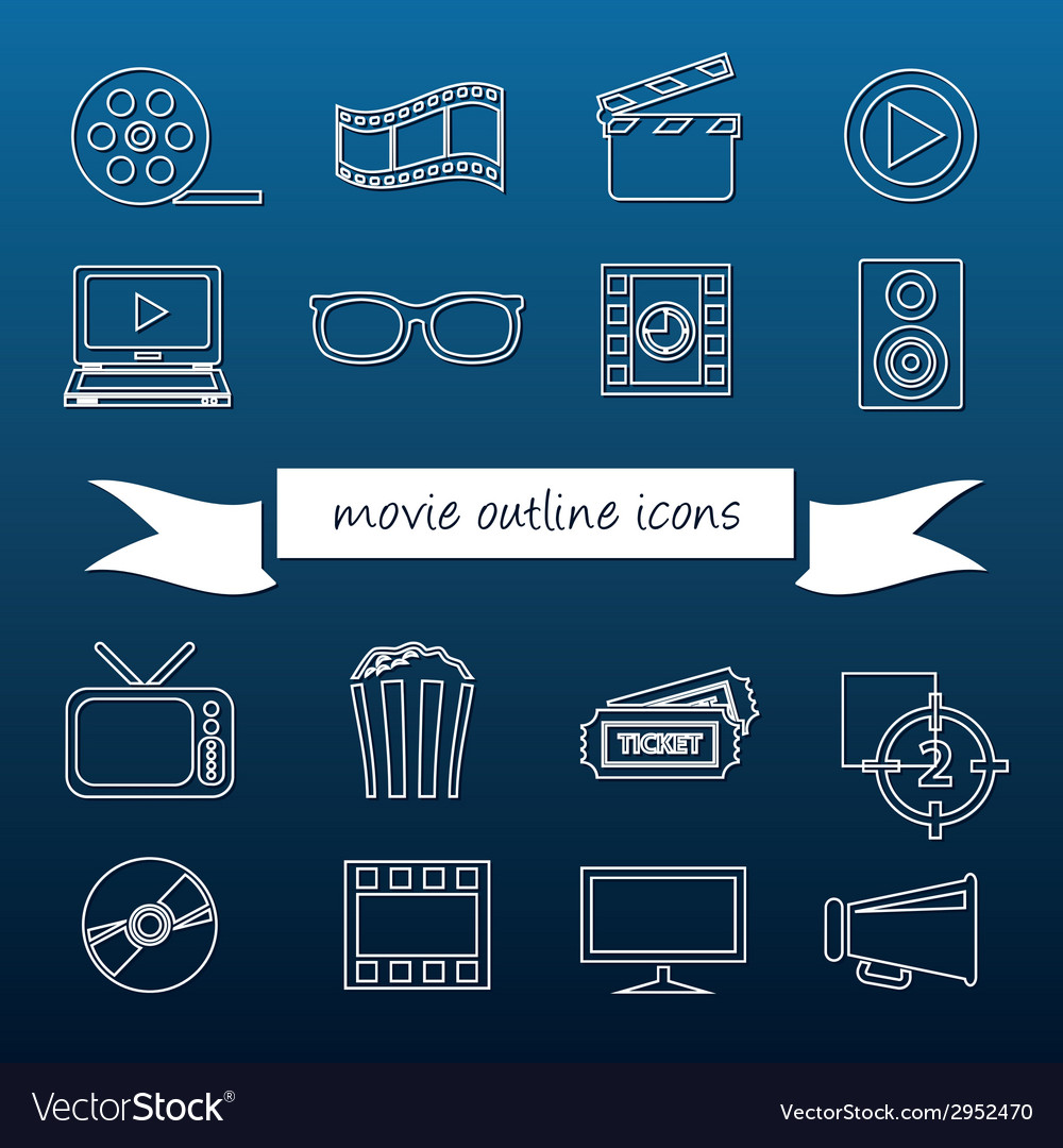Movie outline icons vector | Price: 1 Credit (USD $1)