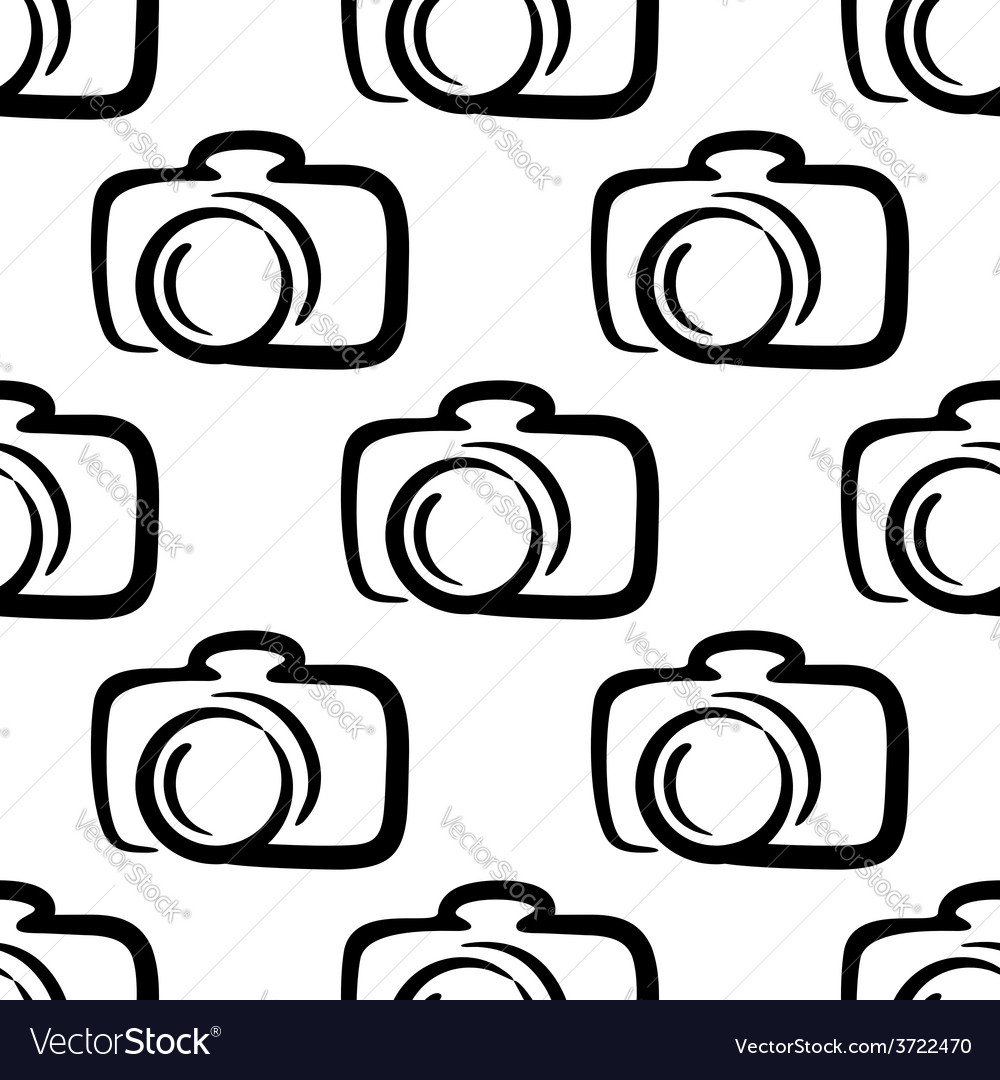 Outline camera seamless pattern background vector | Price: 1 Credit (USD $1)