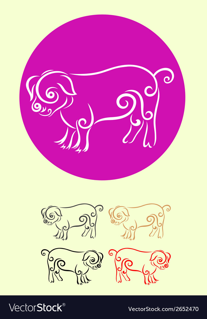 Pig decor vector | Price: 1 Credit (USD $1)