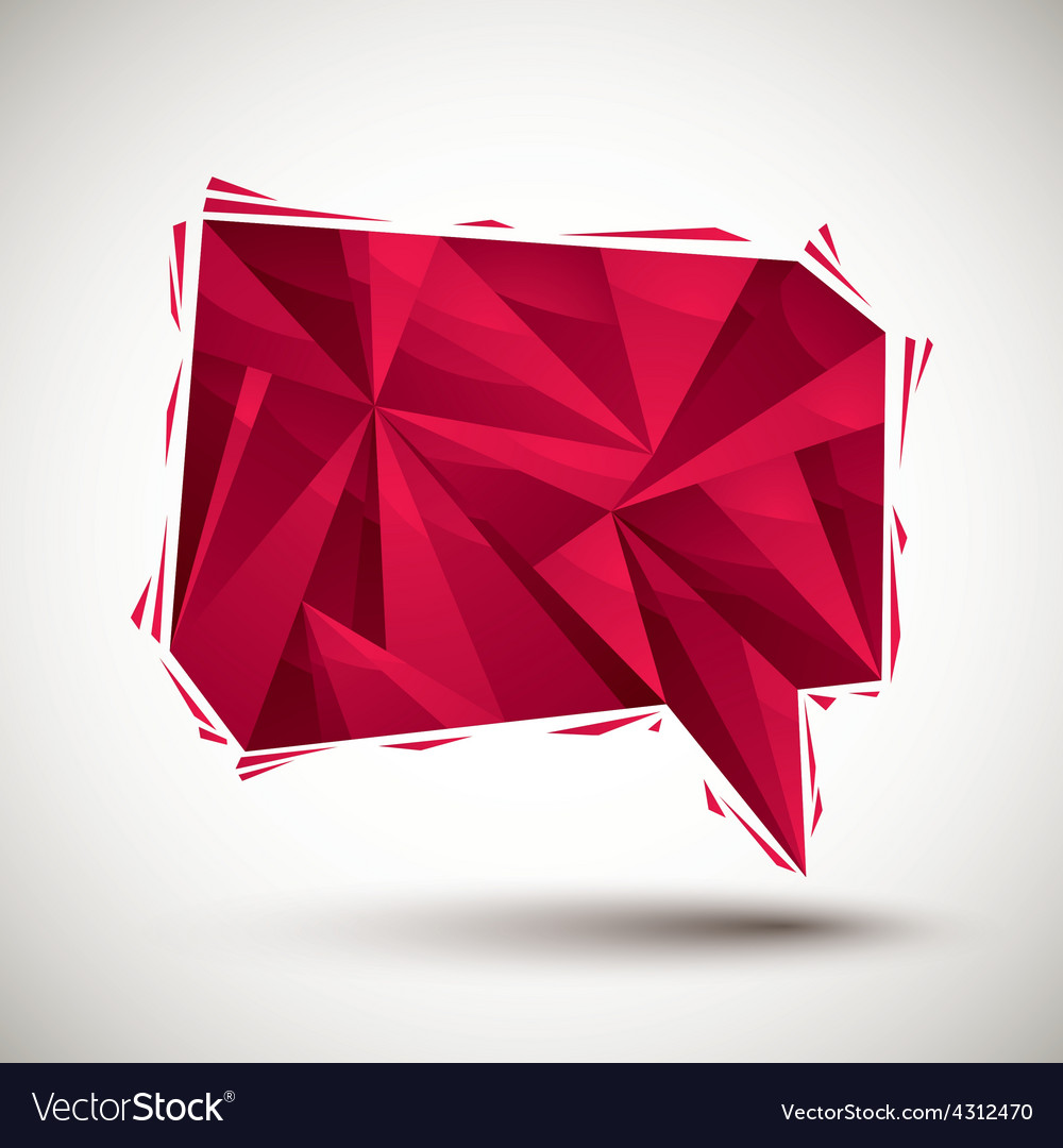 Red speech bubble geometric icon made in 3d modern vector | Price: 1 Credit (USD $1)