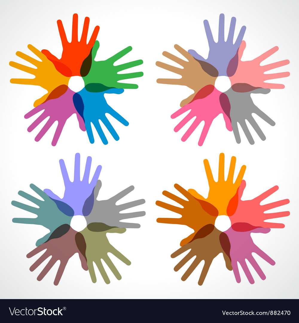 Set of colorful hand print icons vector | Price: 1 Credit (USD $1)