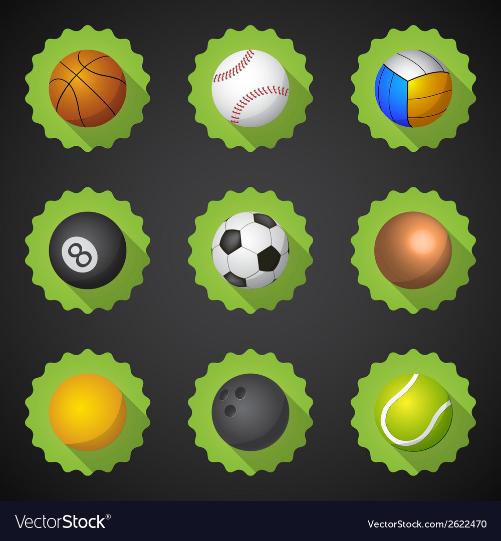 Sport balls football soccer voleyball etc flat vector | Price: 1 Credit (USD $1)