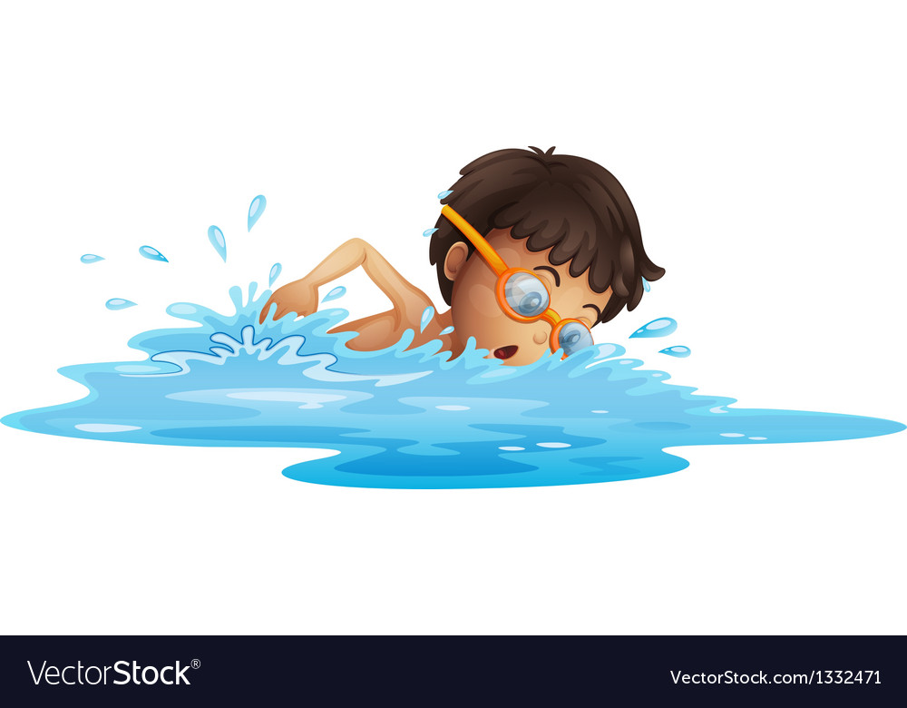 A young boy swimming with a yellow goggles vector | Price: 1 Credit (USD $1)