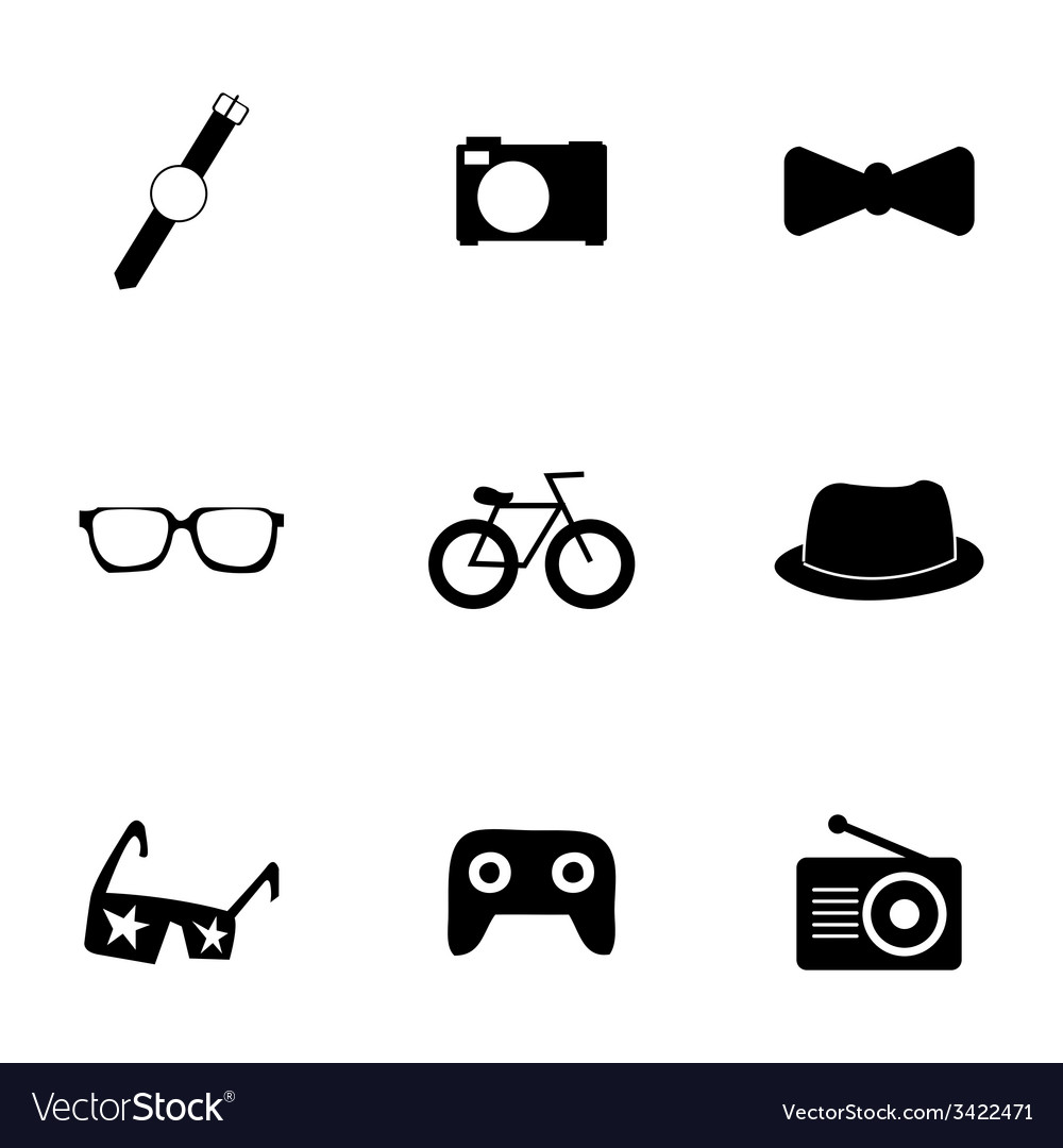 Black hipster icons set vector | Price: 1 Credit (USD $1)