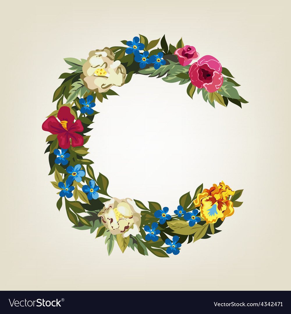 C letter flower capital alphabet colorful font vector | Price: 1 Credit (USD $1)