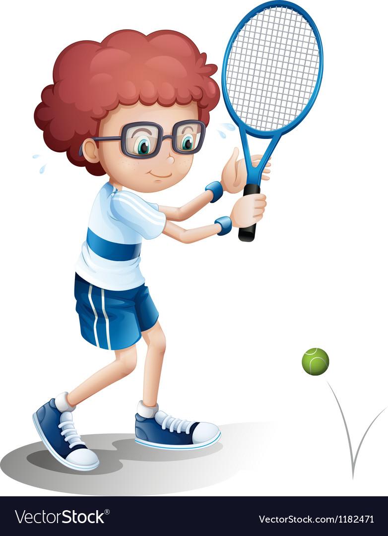 Cartoon tennis boy vector | Price: 1 Credit (USD $1)