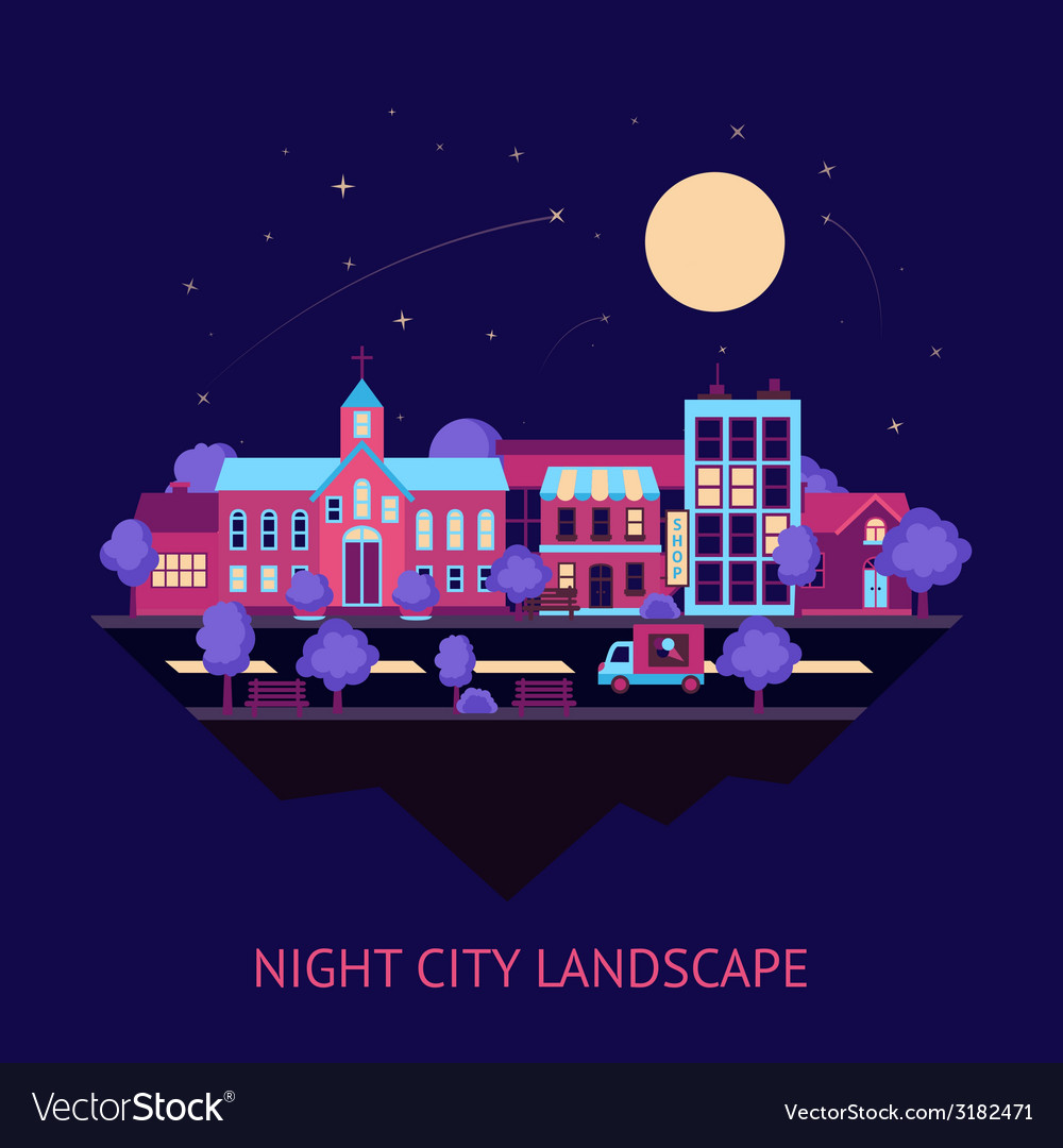 City scape night background vector | Price: 1 Credit (USD $1)