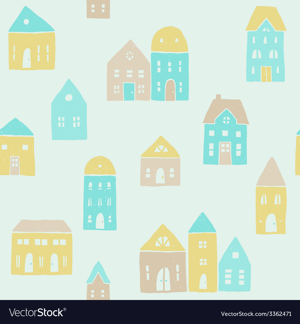 Cute houses pattern vector | Price: 1 Credit (USD $1)