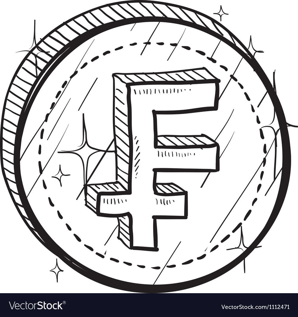 Doodle currency coin franc vector | Price: 1 Credit (USD $1)