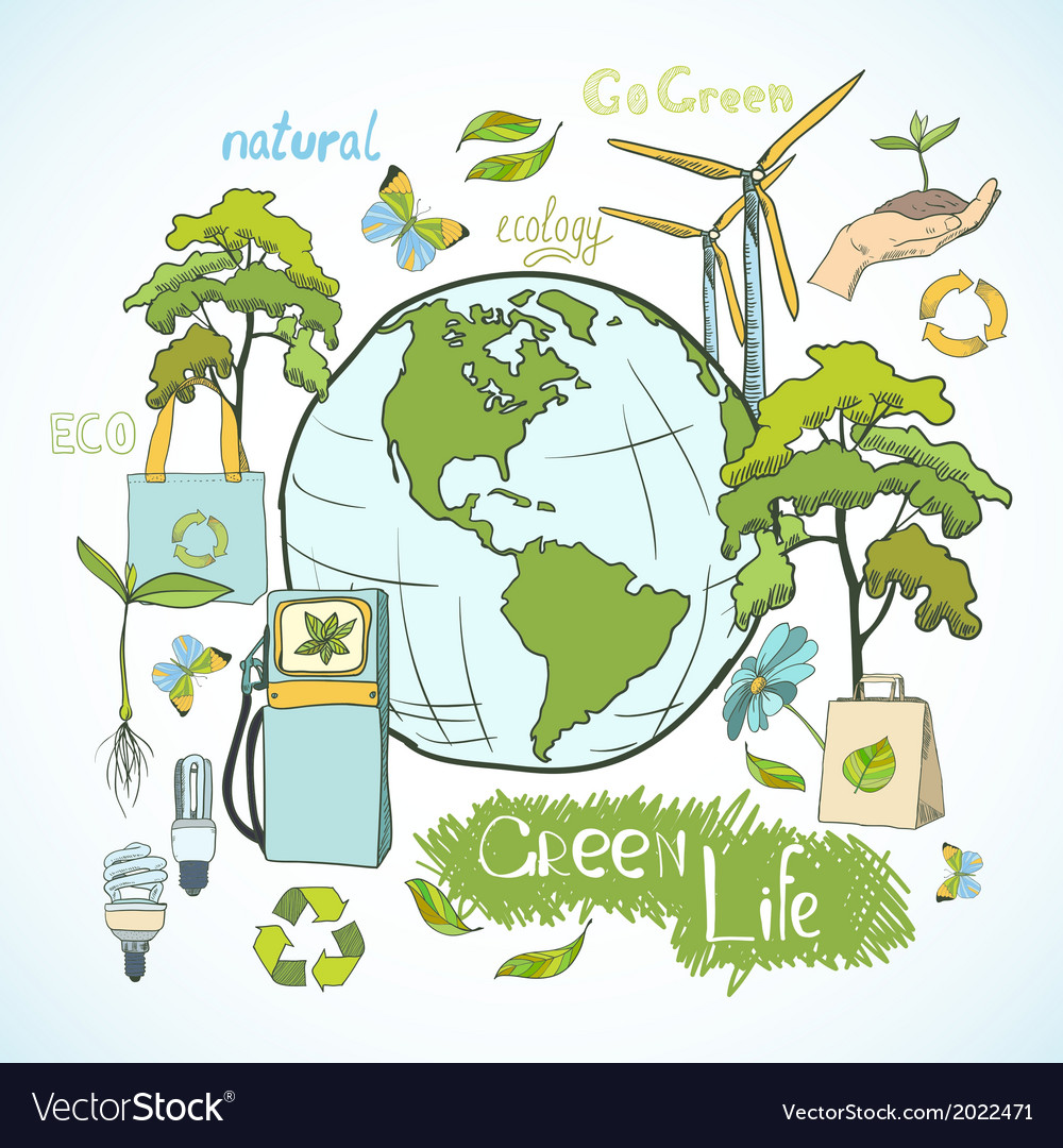 Doodles ecology and environment concept vector | Price: 1 Credit (USD $1)
